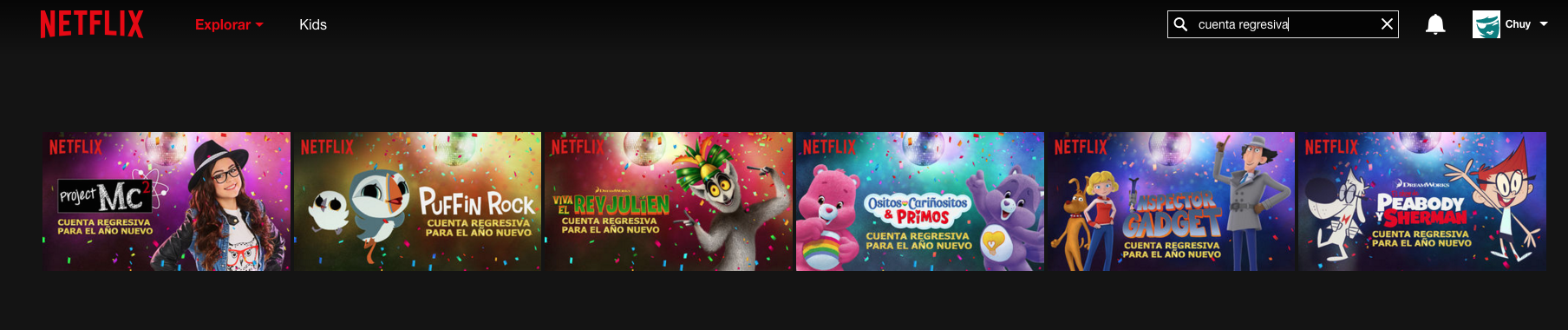 Cuenta regresiva Netflix